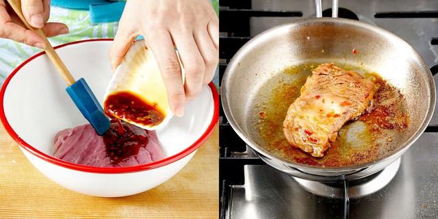 Thịt chín thì lấy ra thái miếng vừa ăn. Xếp thịt ra đĩa, ăn kèm với táo và hành tây.