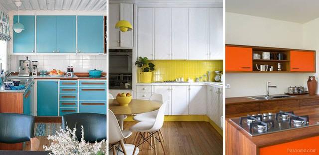 Màu ngọc lam, vàng và cam là những màu sắc nổi bật, vui tươi dành cho một nhà bếp nhỏ.