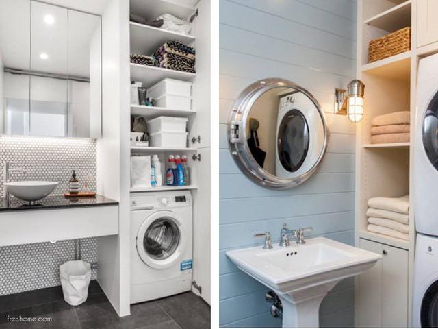 Phòng tắm nhỏ có thể là nơi để máy giặt, trang điểm, lưu trữ đồ.