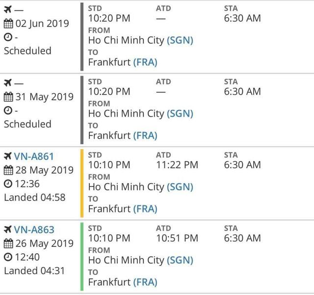 Kế hoạch hạ cánh của chuyến bay VN279 đến Hà Nội và chuyến bay VN031 từ TP.HCM đến Frankfurt (Đức) cho thấy dù có nối chuyến thì hành khách này cũng mặc nhiên trễ.
