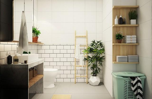 Cây trồng giúp phòng tắm không bị bám mùi và có màu sắc tương tự với giỏ đựng đồ.