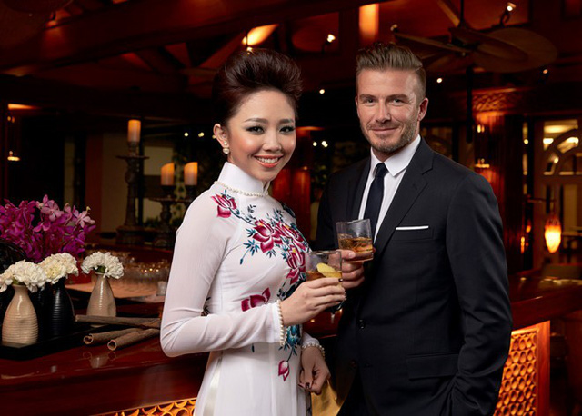 Tóc Tiên là đại sứ của thức uống Haig Club tại Việt Nam và đồng hành cùng David Beckham cuối năm 2014
