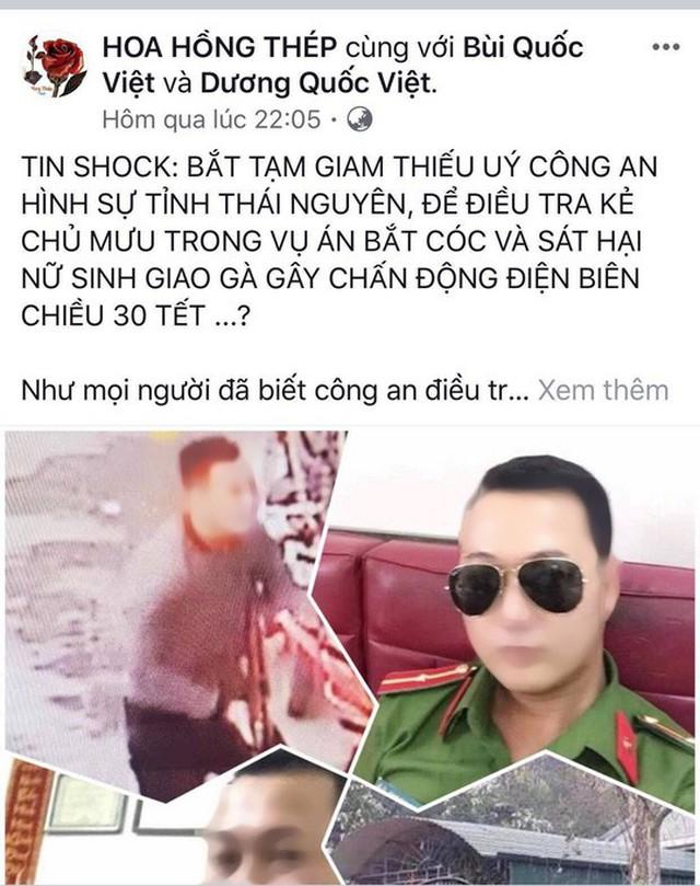Fanpage HOA HỒNG THÉP thông tin về vụ việc - Ảnh chụp màn hình
