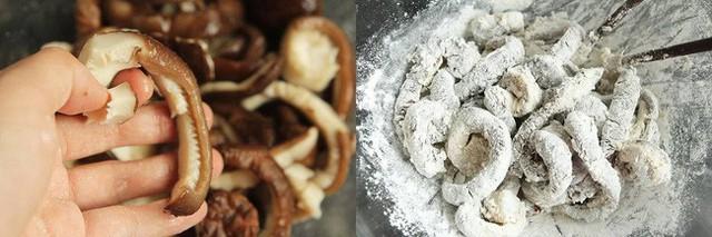 Đun nóng dầu ăn trong chảo, cho nấm vào chiên chín vàng giòn thì vớt ra bát. Cho xốt cà chua vào bát con, thêm tỏi băm, đường, giấm gạo và nước lọc đã hòa bột năng vào trộn đều.