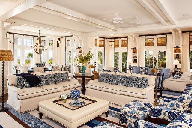 Đơn giản chỉ với 2 gam màu chủ đạo thôi nhưng căn phòng khách đẹp trong kém gì những căn phòng mẫu xuất hiện trên tạp chí.