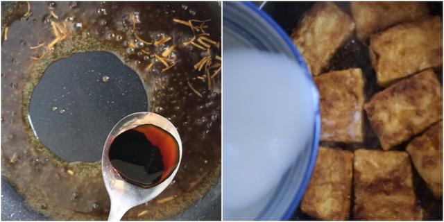 Rim đậu thêm 5 phút nữa thì tắt bếp. Xếp đậu ra đĩa thêm hành lá thái nhỏ và ớt lên trên là xong.