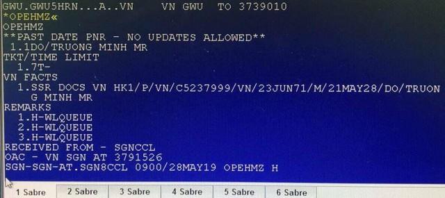 Theo dữ liệu lưu trên hệ thống, vị khách đặc biệt khiến hơn 200 người trên chuyến bay VN31 phải chờ đợi là Do Truong Minh (sinh ngày 23/6/1971) - một doanh nhân và đi ghế thương gia.