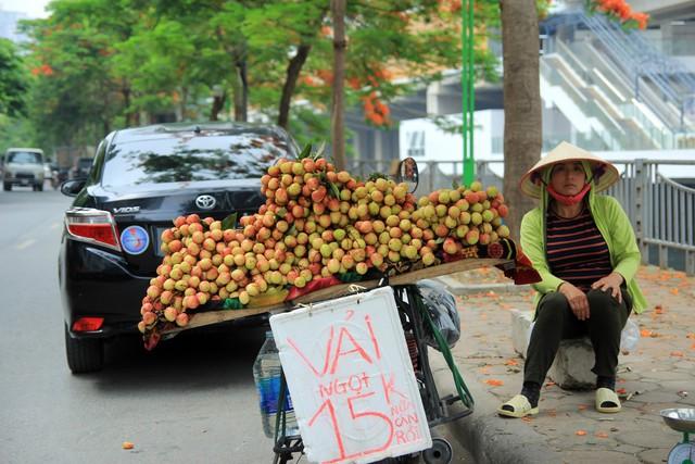 Trong thời điểm rộ mùa vải, bà Lưu cũng tranh thủ ngồi bán xuyên trưa, tại con phố Nguyễn Ngọc Vũ (Thanh Xuân, Hà Nội).