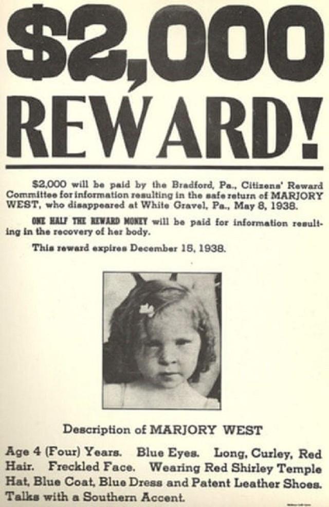 Cảnh sát treo thưởng cho ai tìm được tung tích của Marjorie.