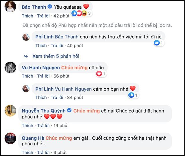 Rất đông bạn bè nghệ sĩ đã gửi lời chúc mừng tới MC Phí Linh trên trang cá nhân.