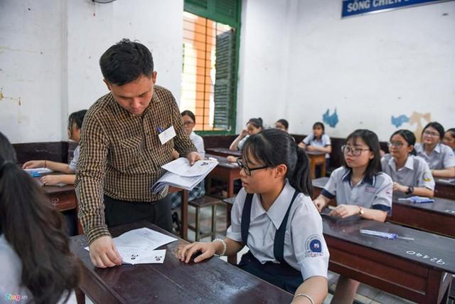 Học sinh dự thi vào lớp 10 ở TP.HCM năm 2019. Ảnh: Quỳnh Trang.
