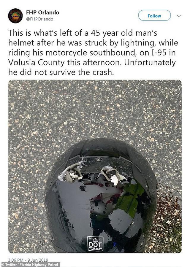 Ảnh được cắt ra từ vụ tai nạn (trái) và dòng Tweet của đội Tuần tra Florida