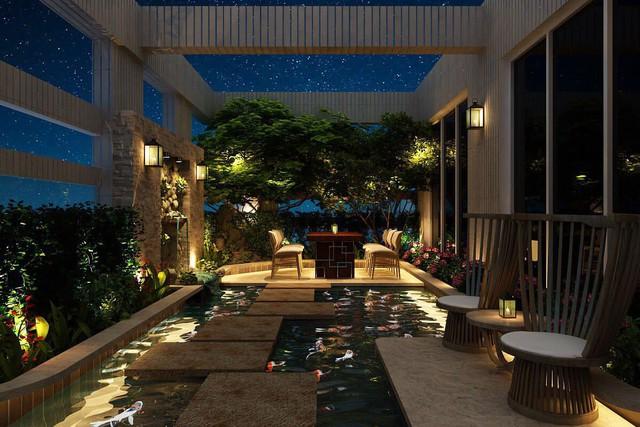 Ngoài hai căn hộ này, Hoa hậu Thu Hoài còn sở hữu biệt thự rộng 400m2 gần gũi với thiên nhiên, có hồ bơi lớn nằm sâu trong nhà.