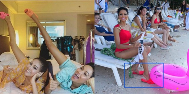 HHen Niê là Hoa hậu có công mang thương hiệu dép tổ ong ra quốc tế khi cô dùng nó làm quà tặng cho thí sinh cùng thi. Sang Thái Lan thi HHHV 2018, trong một hoạt động ngoài trời tại bãi biển Pattaya, HHen thu hút ống kính phóng viên khi diện đôi dép tổ ong bằng nhựa cùng màu sắc với bộ bikini. HHen còn mang theo nhiều đôi dép để tặng các thí sinh thân thiết, trong ảnh là cô cùng bạn cùng phòng - Hoa hậu Hàn Quốc (trái).