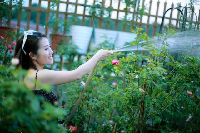 Ngoài chăm sóc 3 con nhỏ, chị luôn dành thời gian cho niềm đam mê cây và hoa của mình.