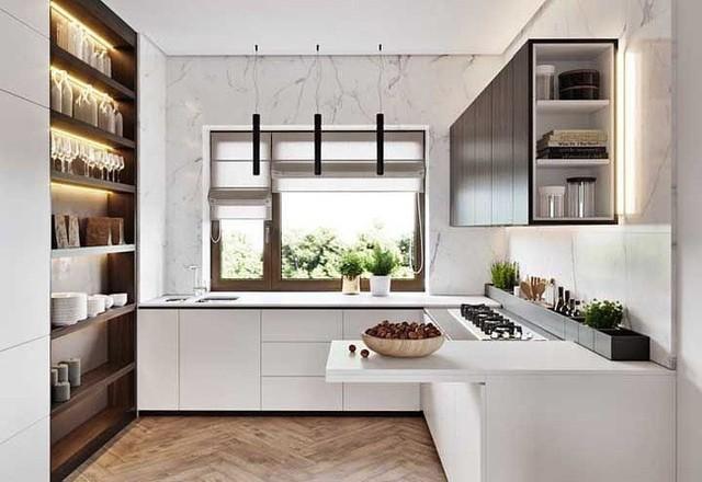 Những bức tường nhà bếp không còn đơn điệu nhờ kệ treo tường cung cấp cho người dùng không gian lưu trữ tiện dụng.