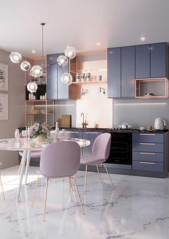 Một căn bếp nhỏ hẹp với gam màu chủ đạo tươi sáng thường khiến bạn cảm thấy không gian rộng rãi hơn diện tích thực tế.
