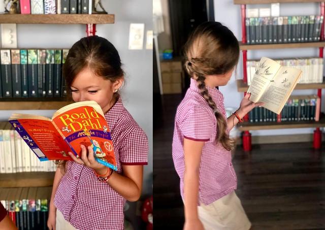 Khác với anh hai, con gái Hồng Nhung lại rất thích đọc sách: Chị ba thì đang bị thôi miên bởi bộ sưu tập sách Roald Dahl. Lúc ăn sáng mẹ bắt ngừng đọc, chị ráng ăn thật nhanh để khỏi bị đứt đoạn lâu- nữ ca sĩ chia sẻ.