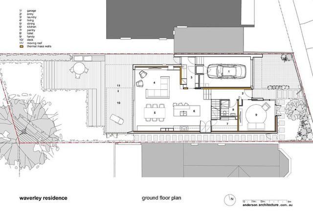 Mặt bằng thiết kế tầng trệt của ngôi nhà.