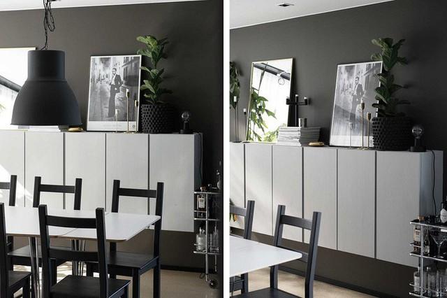 Đồ nột thất trong phòng ăn này có sự thống nhất với nhau về màu sắc. Thiết kế tủ chạy dài theo bức tường giúp lưu trữ nhiều đồ đạc hơn mà không tốn diện tích mặt sàn.