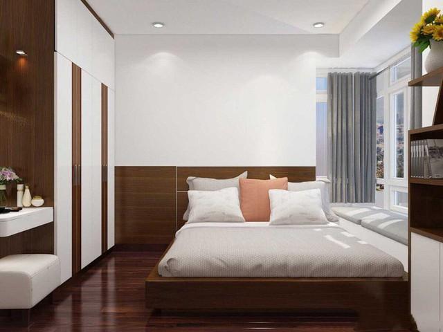 Phòng ngủ với gam màu tối, đem đến cảm giác ấm áp, gần gũi, mộc mạc cho không gian.