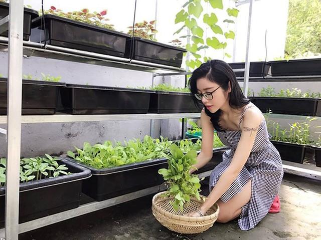 Người đẹp còn trồng cả một vườn rau sạch trên sân thượng để phục vụ bữa ăn sạch hàng ngày.