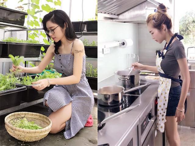 Quan niệm cơm nhà là nhất, bà mẹ hai con thường xuyên vào bếp nấu ăn và sáng tạo ra nhiều món ngon cho cả gia đình.