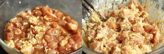Đun nóng dầu ăn trong chảo ở lửa nhỏ, cho thịt vào chiên chín vàng đều rồi vớt ra đĩa.