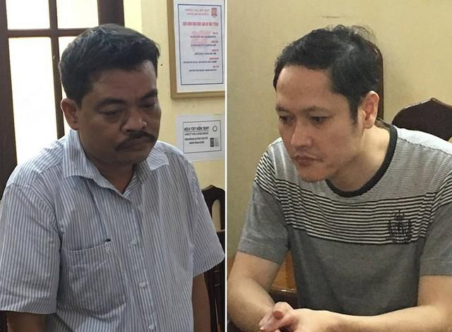 Ông Nguyễn Thanh Hoài (trái) và Vũ Trọng Lương, hai bị can trong vụ gian lận điểm thi tại tỉnh Hà Giang. Ảnh công an cung cấp