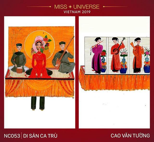 Ca trù - loại hình diễn xướng nghệ thuật thịnh hành ở Việt Nam từ thế kỷ thứ 15 cũng được thiết kế thành trang phục dân tộc cho Hoàng Thuỳ tại Miss Universe 2019