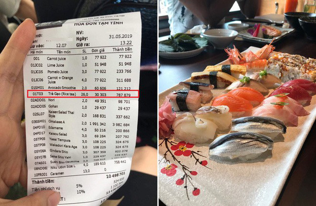 Mặc dù hài lòng về chất lượng đồ ăn tại nhà hàng, song thực khách không khỏi choáng khi nhận hóa đơn với hơn 700.000 đồng cho món trà gạo.