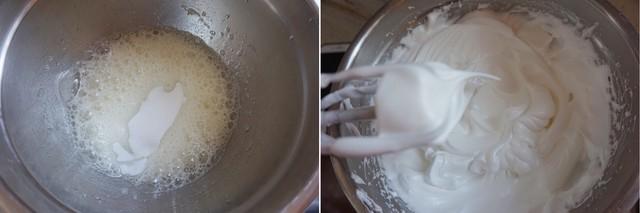Chia hỗn hợp lòng đỏ trứng ra làm 3 phần. Lần lượt trộn từng phần vào tô lòng trắng trứng bạn vừa đánh bông. Trộn nhẹ tay, khi thấy hỗn hợp hòa quyện thì dừng.