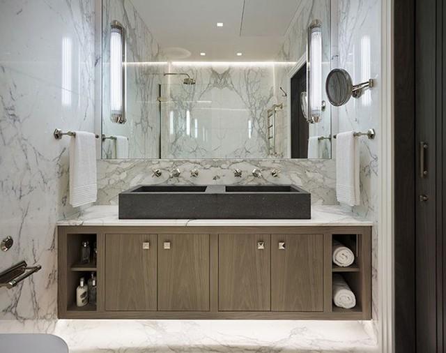 Bạn có thể ốp đá cẩm thạch cho mọi bức tường bên trong nhà mình từ phòng tắm đến phòng khách hay nhà bếp.