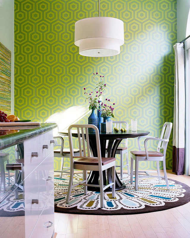 Mô hình phòng ăn có màu xanh lá cây mang đến cảm giác sức sống tràn đầy cho những người sử dụng.