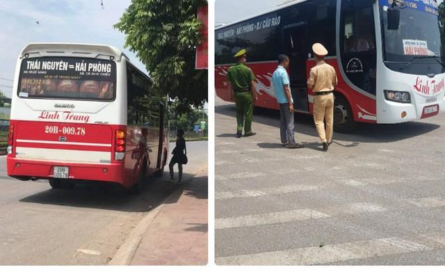 Từ video PV Báo Gia đình & Xã hội cung cấp, lực lượng CSGT Thái Nguyên đã xử phạt nhà xe Linh Trang về lỗi đón trả khách sai quy định (ảnh chụp ngày 27/6/2019).
