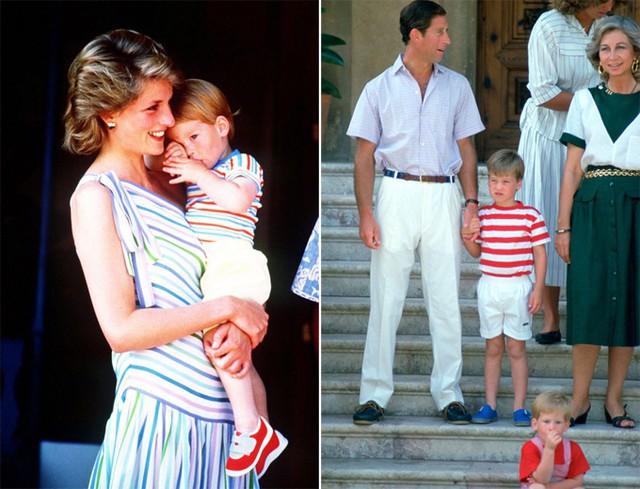 Hoàng tử Harry mút tay khi còn nhỏ. Ảnh: UK Press.