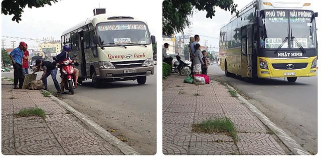 """Những chiếc xe khách liên tỉnh, """"quá cảnh"""" vào Vĩnh Phúc (ngay gần phòng CSGT) để """"vợt"""" khách (ảnh chụp ngày 9/7/2019)."""