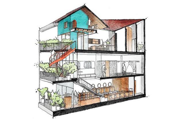 Lấy cảm hứng từ nhà ba gian truyền thống của miền Trung, các kiến trúc sư đã thiết kế một ngôi nhà 3,5 tầng với sự phá cách hoàn toàn so với những ngôi nhà ống đô thị thông thường.