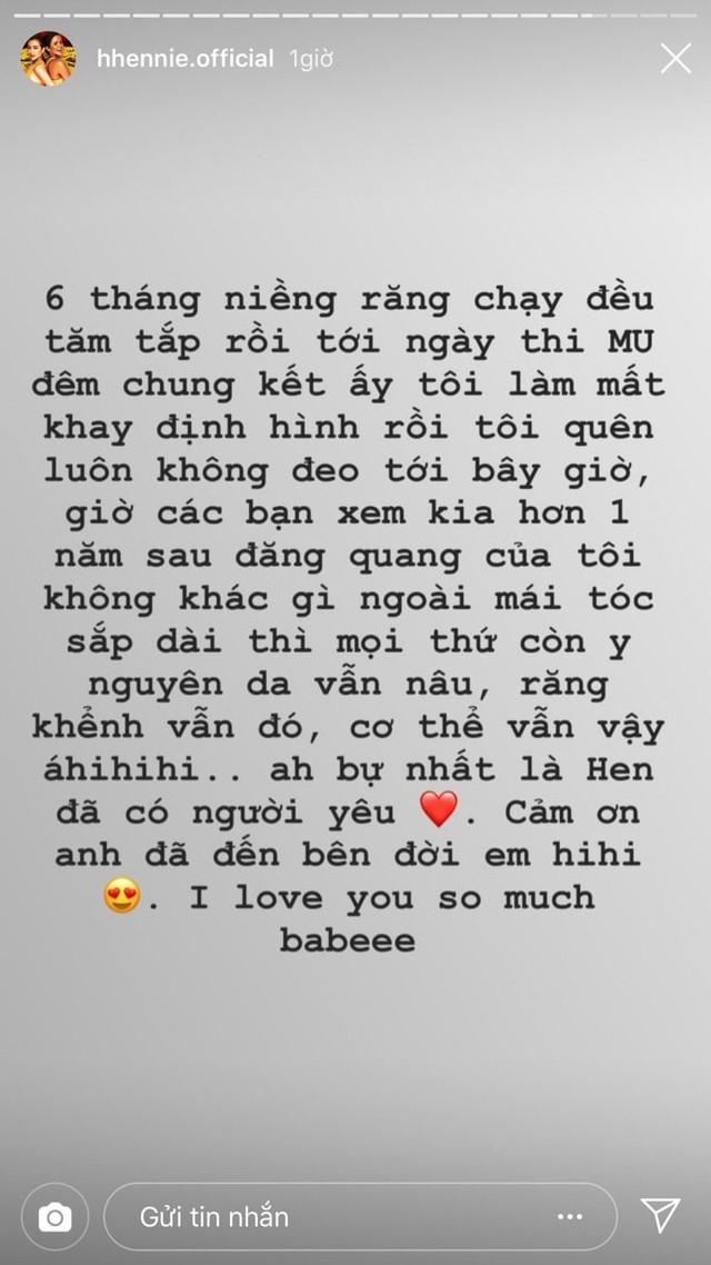 Chia sẻ của HHen Niê gây chú ý khi đây là lần đầu tiên cô công khai thể hiện tình cảm với bạn trai.