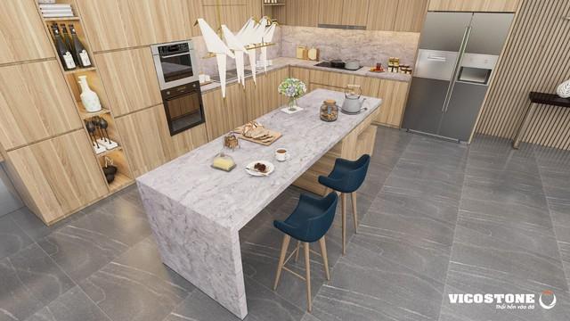 Những vân đá hài hòa mô phỏng bầu trời vùng cực trái đất về đêm tuyệt đẹp của đá VICOSTONE Amadeus giúp cân bằng công nghệ và đời sống cho mỗi căn bếp gia đình.