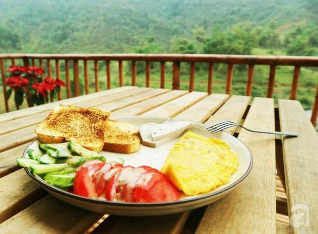Bữa sáng bình yên khi được hòa mình cùng không khí trong lành.
