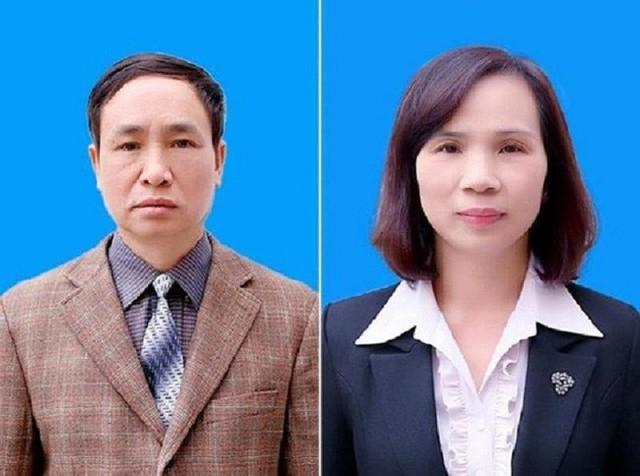 Hai cựu phó giám đốc Sở GD&ĐT Hà Giang Phạm Văn Khuông (trái) và Triệu Thị Chính (phải). Ảnh công an cung cấp