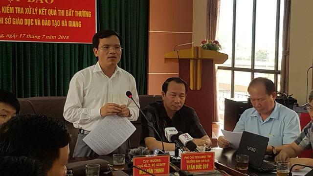 Bộ GD-ĐT thông tin về tiêu cực thi THPT quốc gia ở Hà Giang hồi tháng 7/2018.