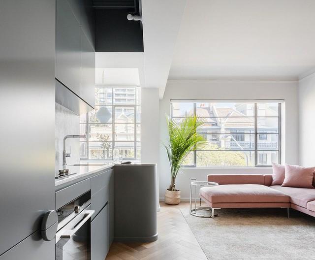 Không gian sống và nhà bếp hiện đại của căn hộ Sydney.