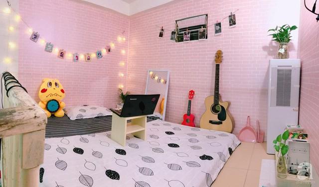 Không gian ngọt ngào nhờ giấy dán màu hồng.