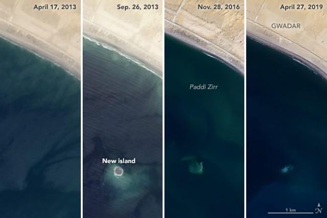 Ảnh chụp từ vệ tinh của NASA cho thấy hòn đảo này đang chìm dần xuống dưới biển (Ảnh:NASA)