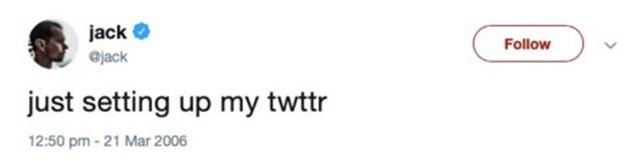 Ngày 21/3/2006, Dorsey đăng dòng tweet đầu tiên lên Twitter. Ông và hai nhà đồng sáng lập - Evan Williams và Biz Stone đã mua tên miền Twitter với giá gần 7.000 USD.