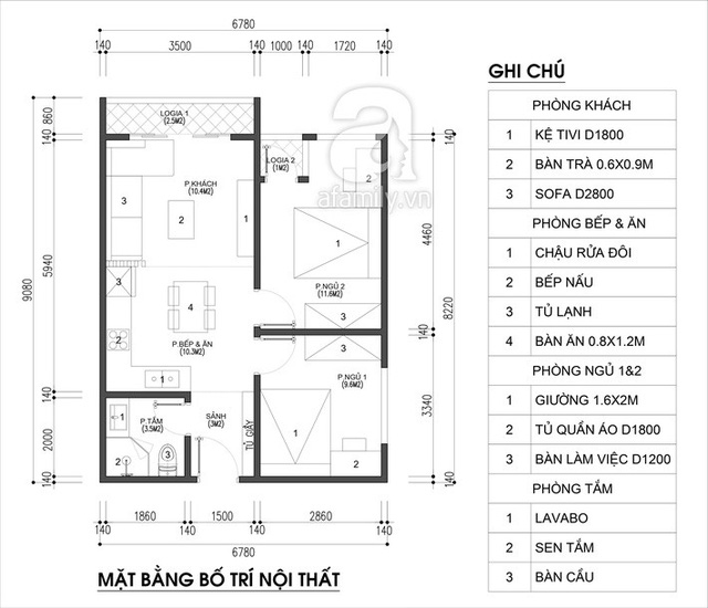 Thiết kế căn hộ 54m² 2 phòng ngủ đẹp hiện đại với tổng chi phí chưa đến 180 triệu đồng - Ảnh 1.