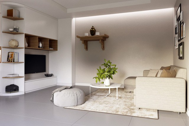 Thiết kế căn hộ 54m² 2 phòng ngủ đẹp hiện đại với tổng chi phí chưa đến 180 triệu đồng - Ảnh 5.
