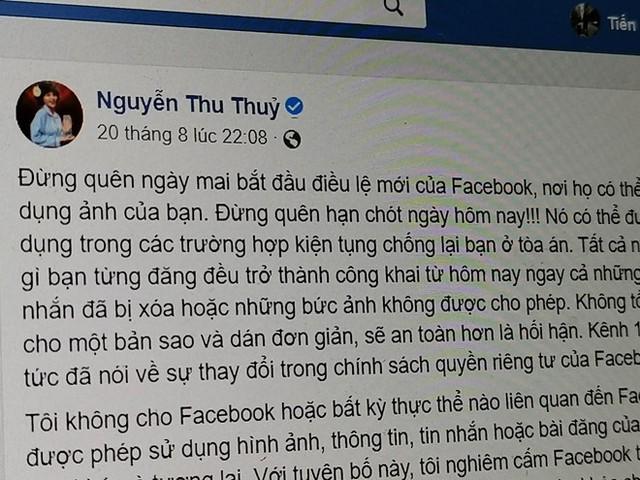 Ca sĩ VN và nhiều người dùng mắc lừa điều lệ mới của Facebook - Ảnh 1.